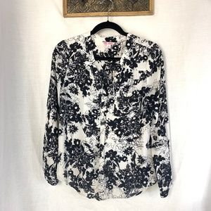Candie's Black & White Floral Long Sleeve Blouse M